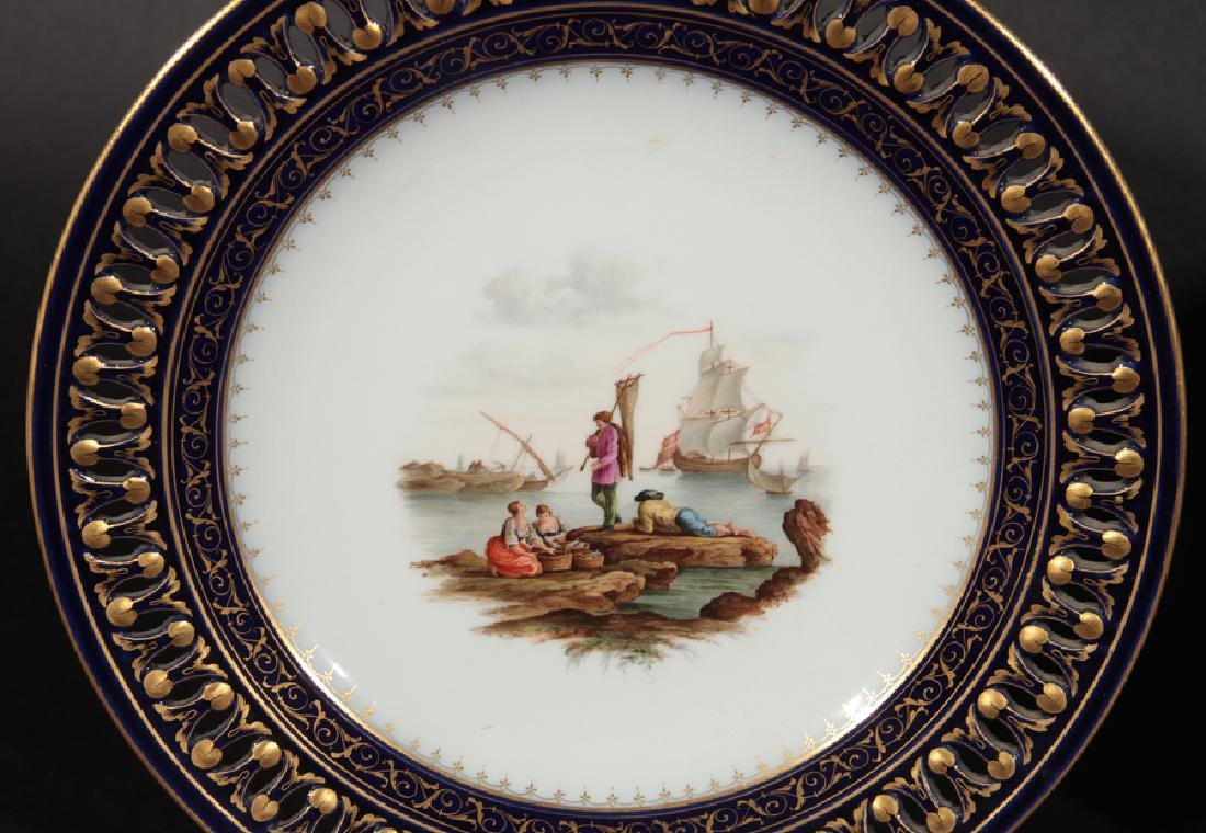 GROUP OF 3 HAND PAINTED MEISSEN PORCELAIN PLATES - 3