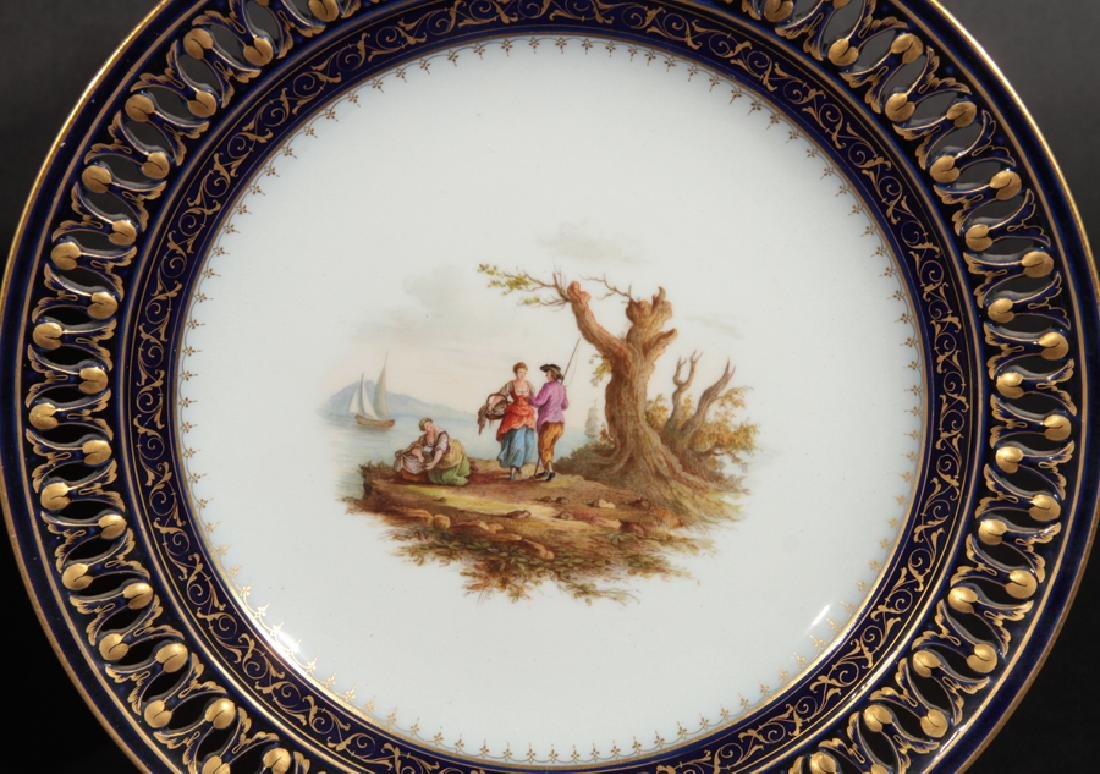 GROUP OF 3 HAND PAINTED MEISSEN PORCELAIN PLATES - 4