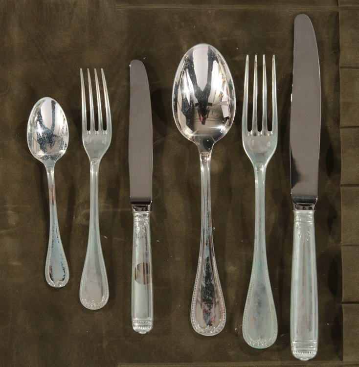 72 PC. CHRISTOFLE STERLING SILVER FLATWARE MALMAISON - 7