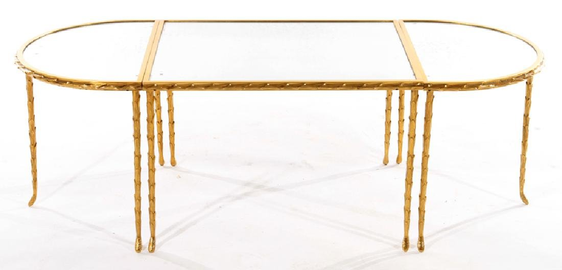 FRENCH BRONZE 3 PART COFFEE TABLE BAGUES C 1950