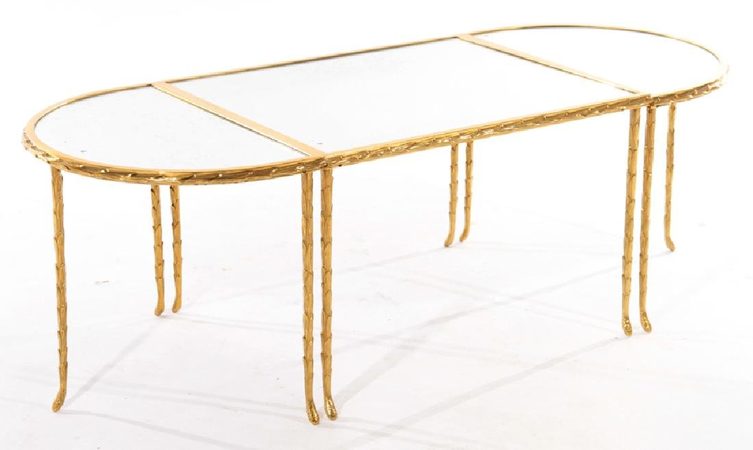 FRENCH BRONZE 3 PART COFFEE TABLE BAGUES C 1950 - 2