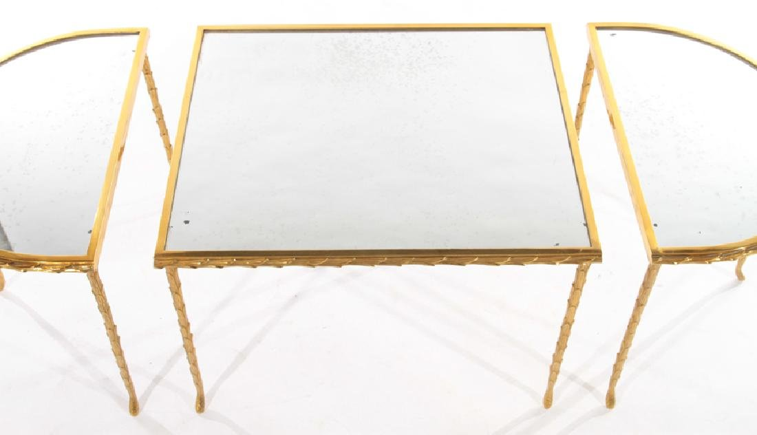 FRENCH BRONZE 3 PART COFFEE TABLE BAGUES C 1950 - 4