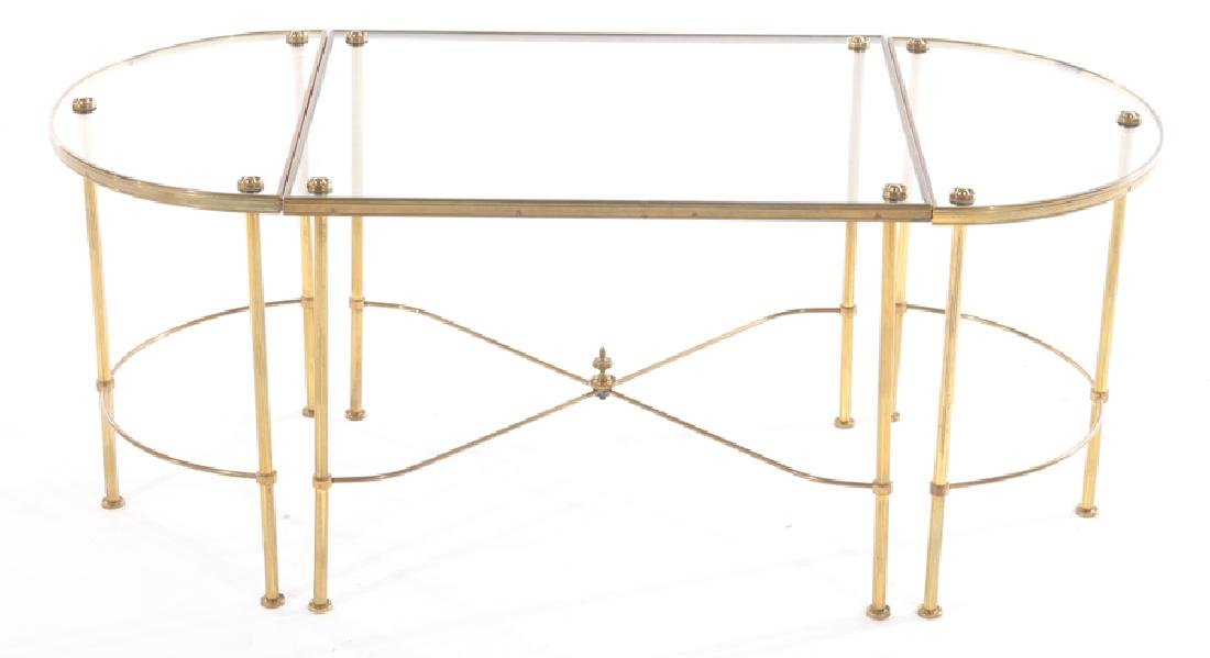 FRENCH BRASS BRONZE 3 PART COFFEE TABLE