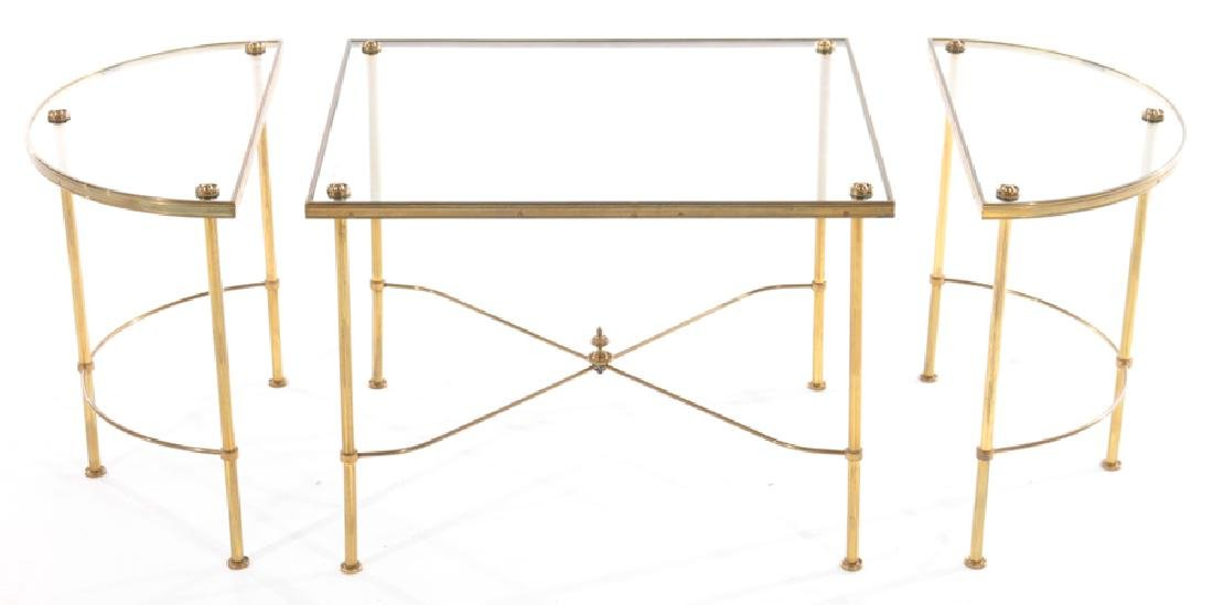 FRENCH BRASS BRONZE 3 PART COFFEE TABLE - 3
