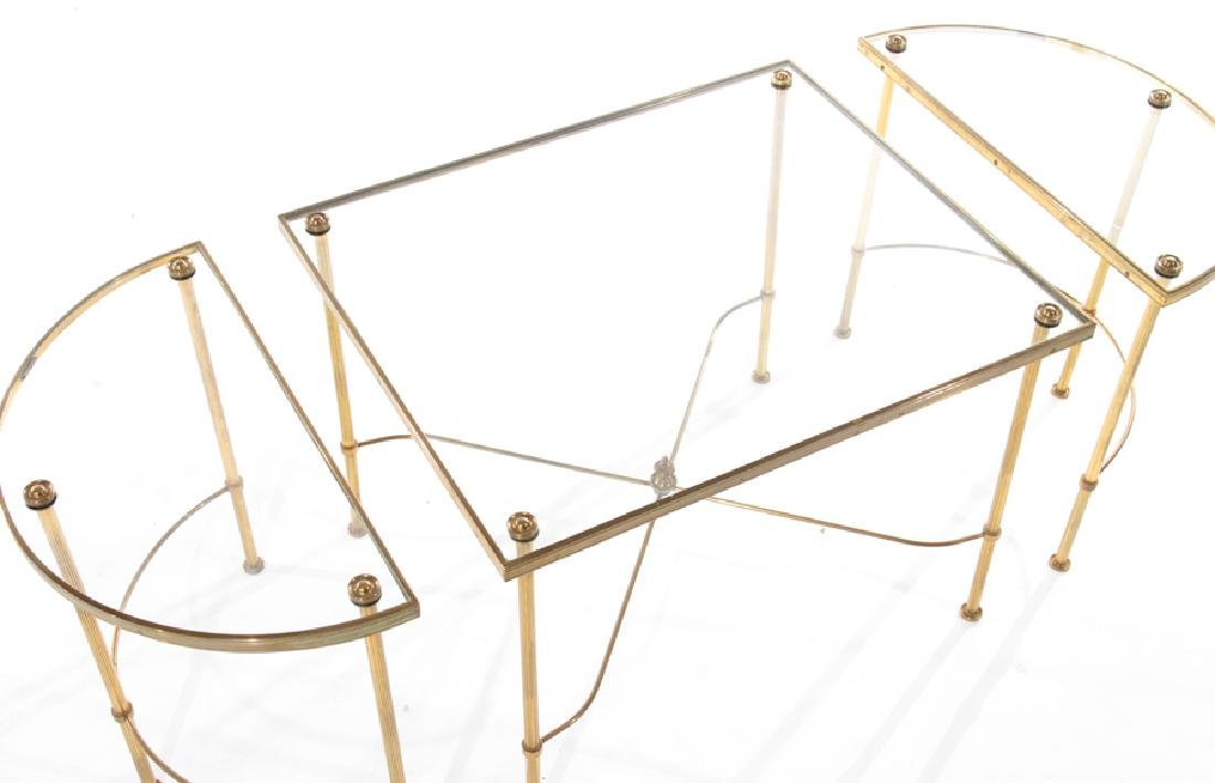 FRENCH BRASS BRONZE 3 PART COFFEE TABLE - 4