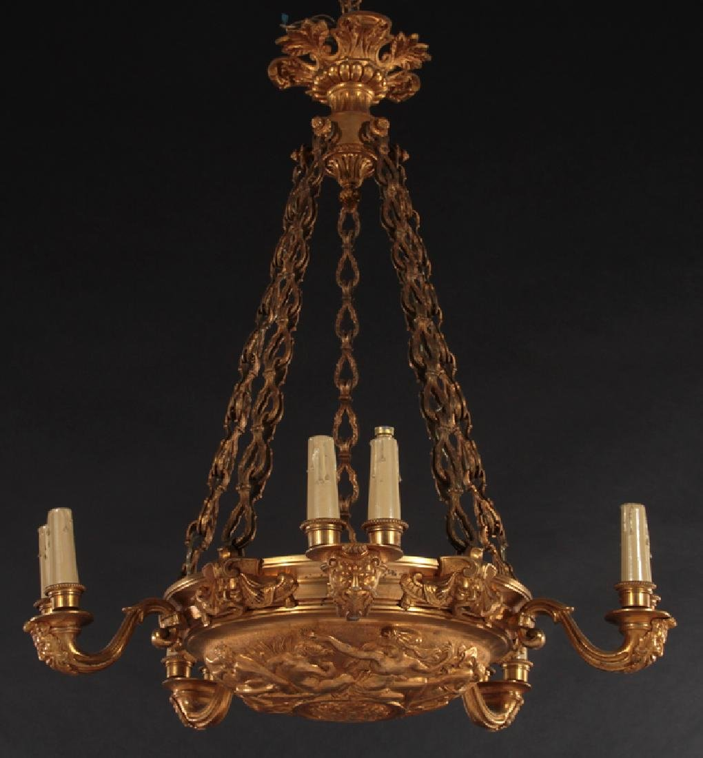 5 ARM EMPIRE STYLE BRONZE CHANDELIER 1910