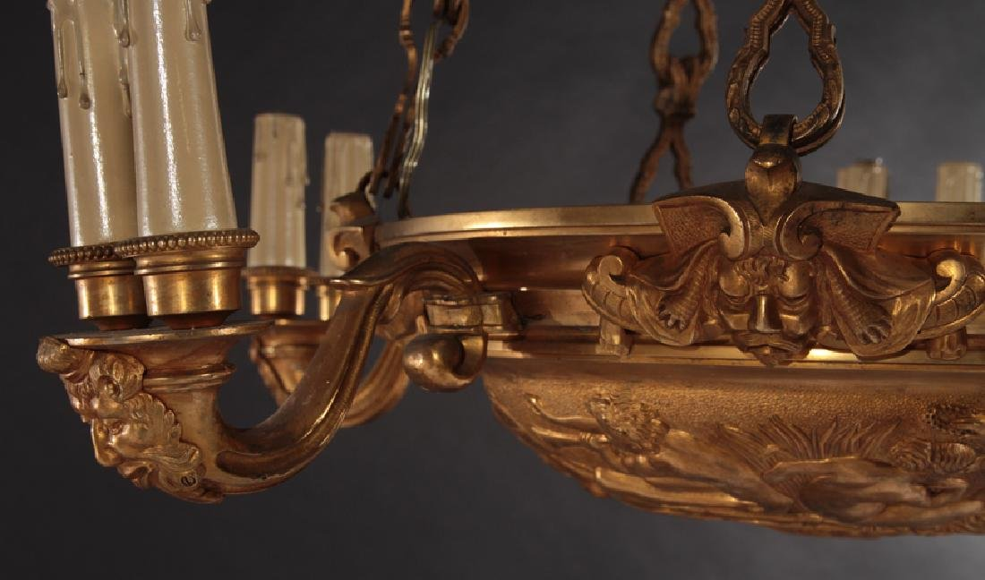 5 ARM EMPIRE STYLE BRONZE CHANDELIER 1910 - 3