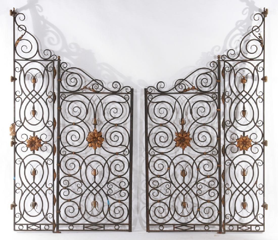 4 PANEL WROUGHT IRON BRONZE GARDEN GATE 1930