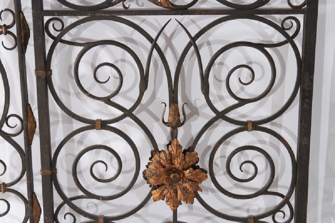 4 PANEL WROUGHT IRON BRONZE GARDEN GATE 1930 - 3