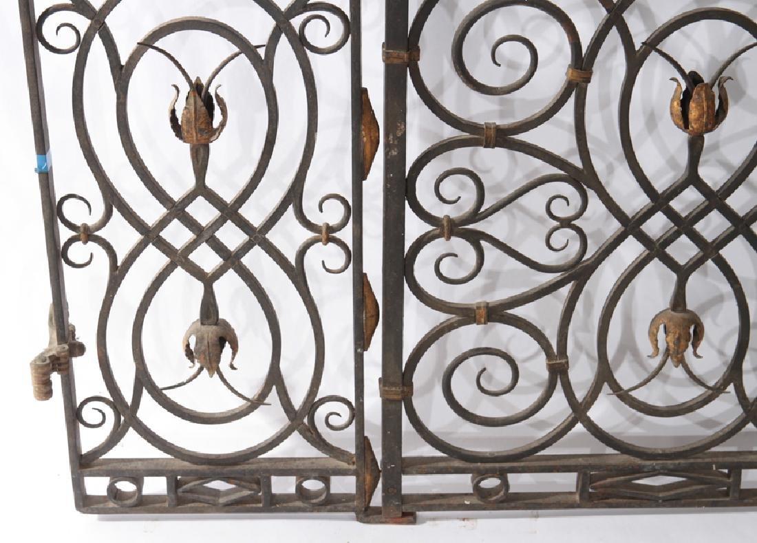 4 PANEL WROUGHT IRON BRONZE GARDEN GATE 1930 - 4