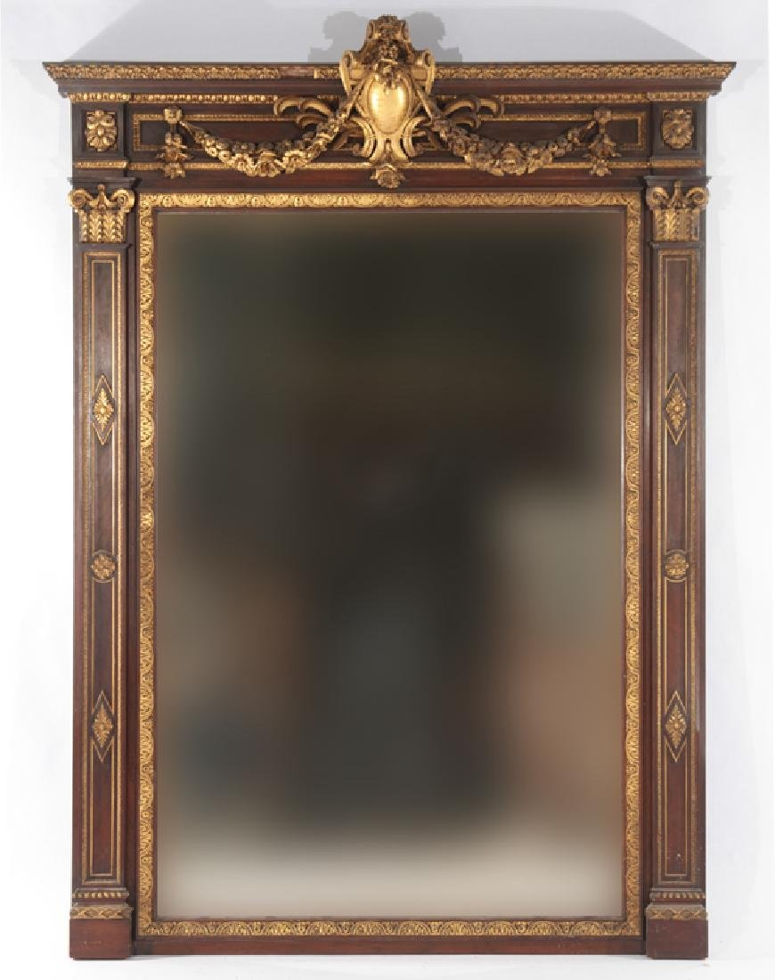 LATE 19TH CENT. GILTWOOD CARVED MAHOGANY MIRROR