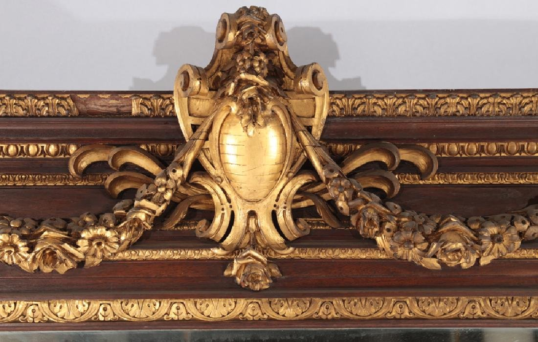 LATE 19TH CENT. GILTWOOD CARVED MAHOGANY MIRROR - 2