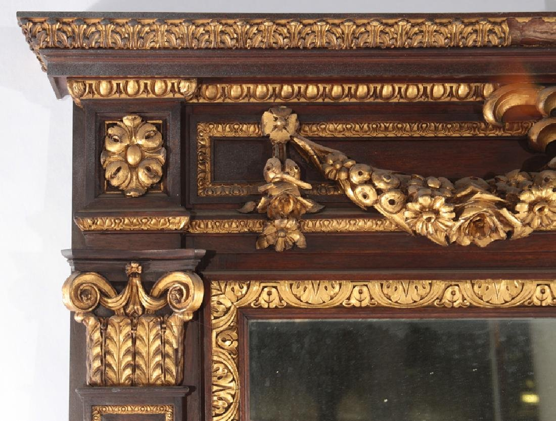 LATE 19TH CENT. GILTWOOD CARVED MAHOGANY MIRROR - 3