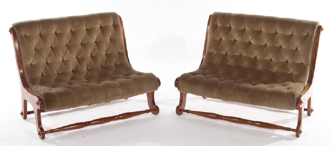 PAIR EDWARDIAN UPHOLSTERED BENCHES 1930
