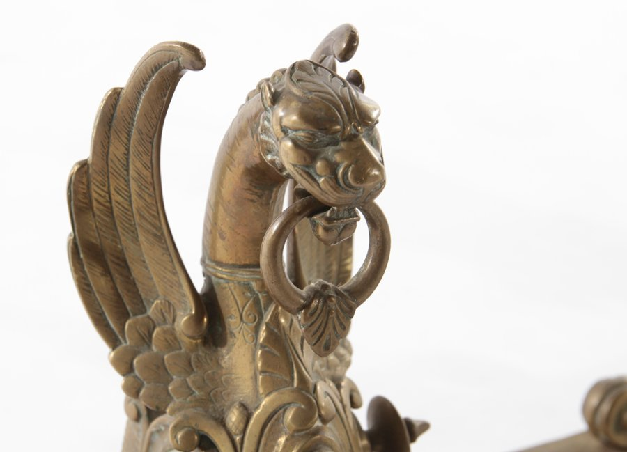 PAIR OF WINGED GRIFFIN FORM BRONZE ANDIRONS 1900 - 2