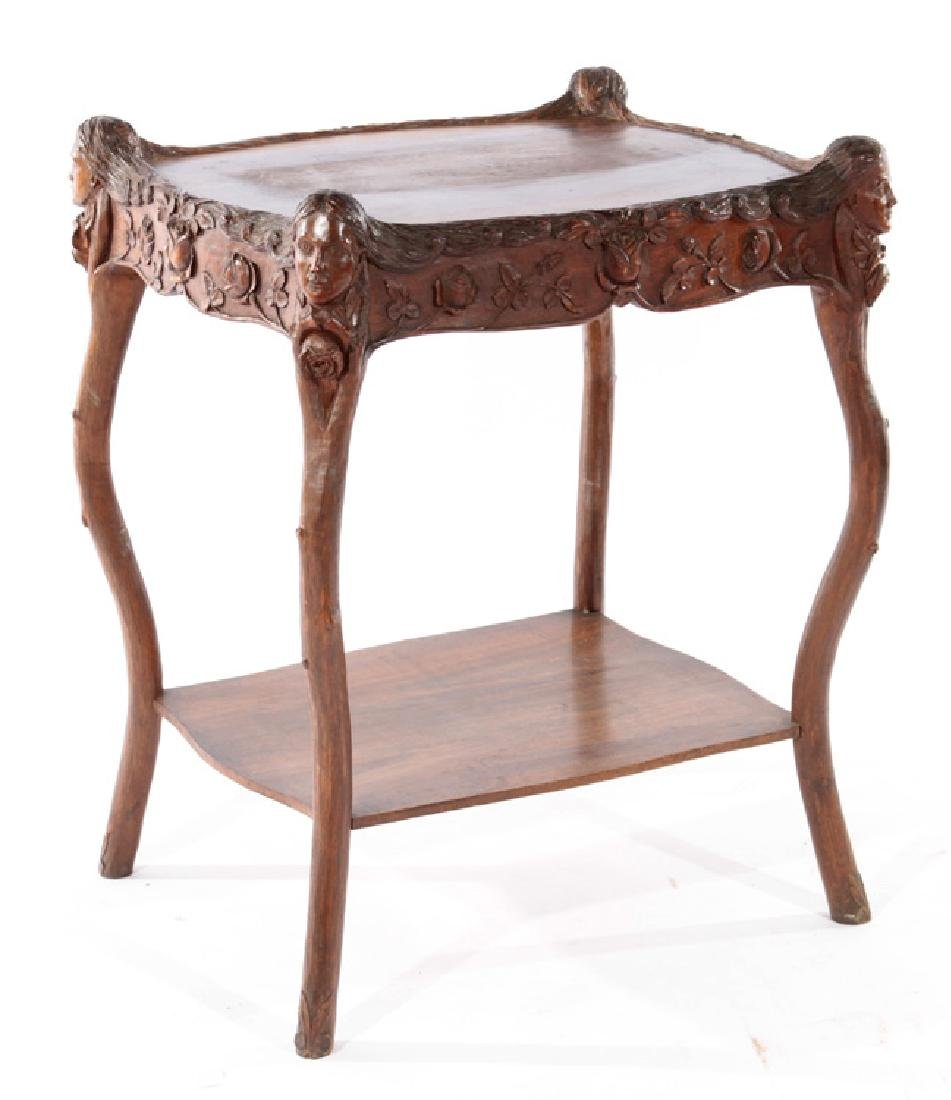 19TH CENT. VICTORIAN CARVED WALNUT SIDE TABLE