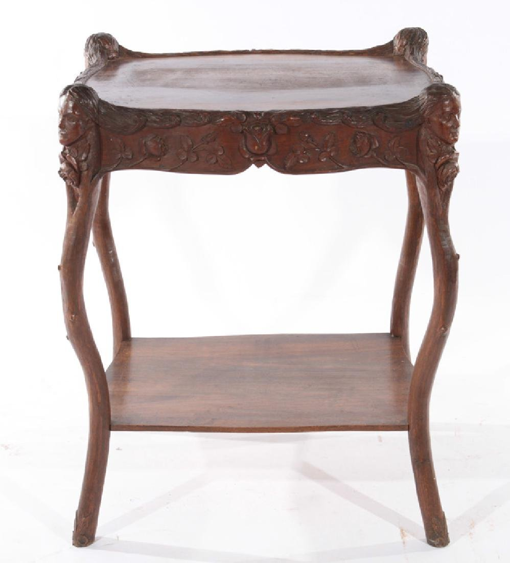 19TH CENT. VICTORIAN CARVED WALNUT SIDE TABLE - 2
