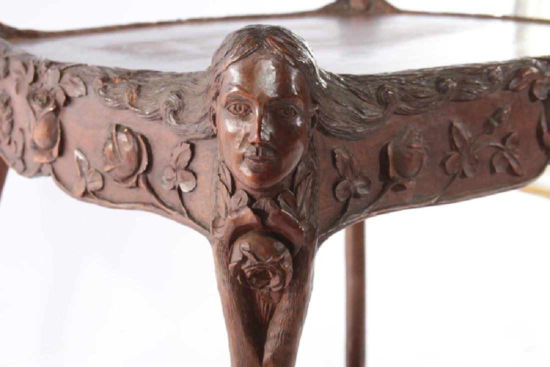 19TH CENT. VICTORIAN CARVED WALNUT SIDE TABLE - 4