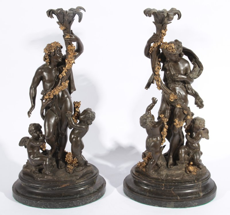 PAIR BRONZE SCUPLTURES SIGNED CLODION