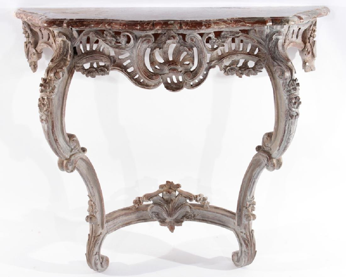 19TH CENT. FRENCH CARVED PAINTED CONSOLE TABLE