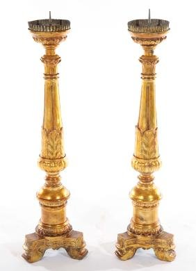 PAIR 19TH CENT. GILTWOOD CARVED PRICKET STICKS