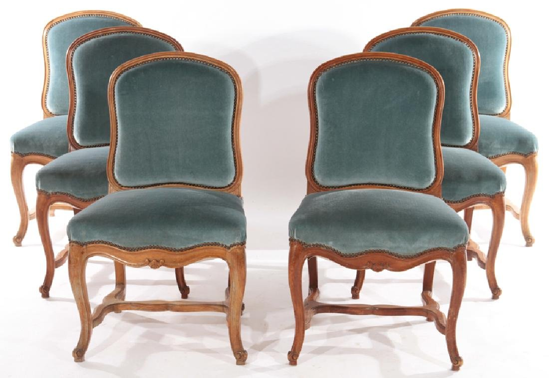 SET 6 FRENCH LOUIS XV DINING CHAIRS 1930