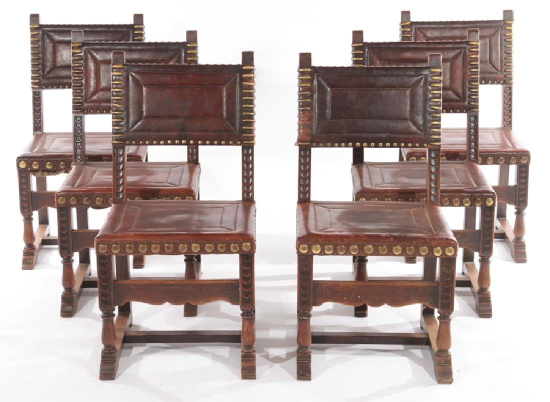 SET 6 FRENCH 17TH CENT. STYLE LEATHER DINING CHAIRS