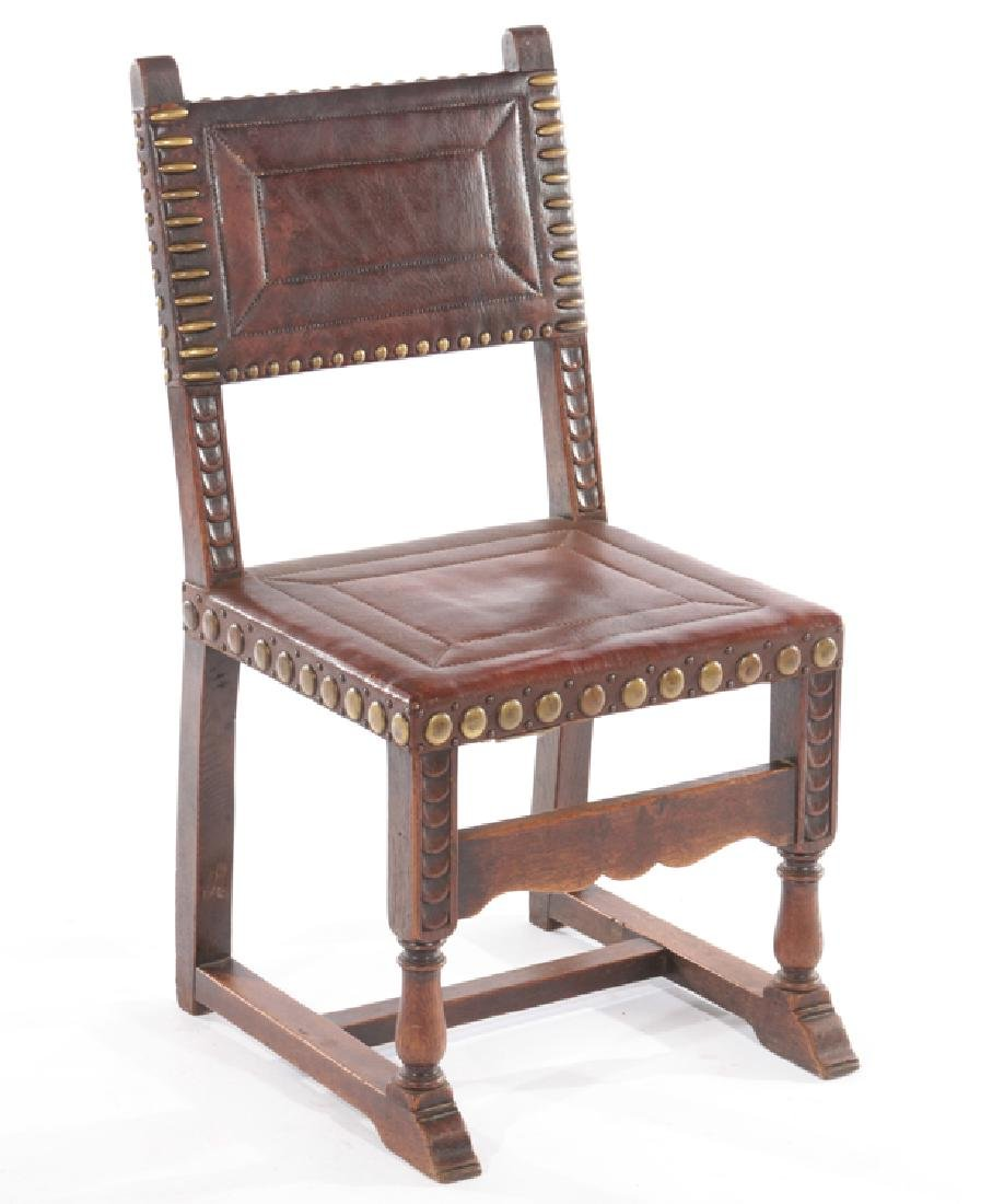 SET 6 FRENCH 17TH CENT. STYLE LEATHER DINING CHAIRS - 2
