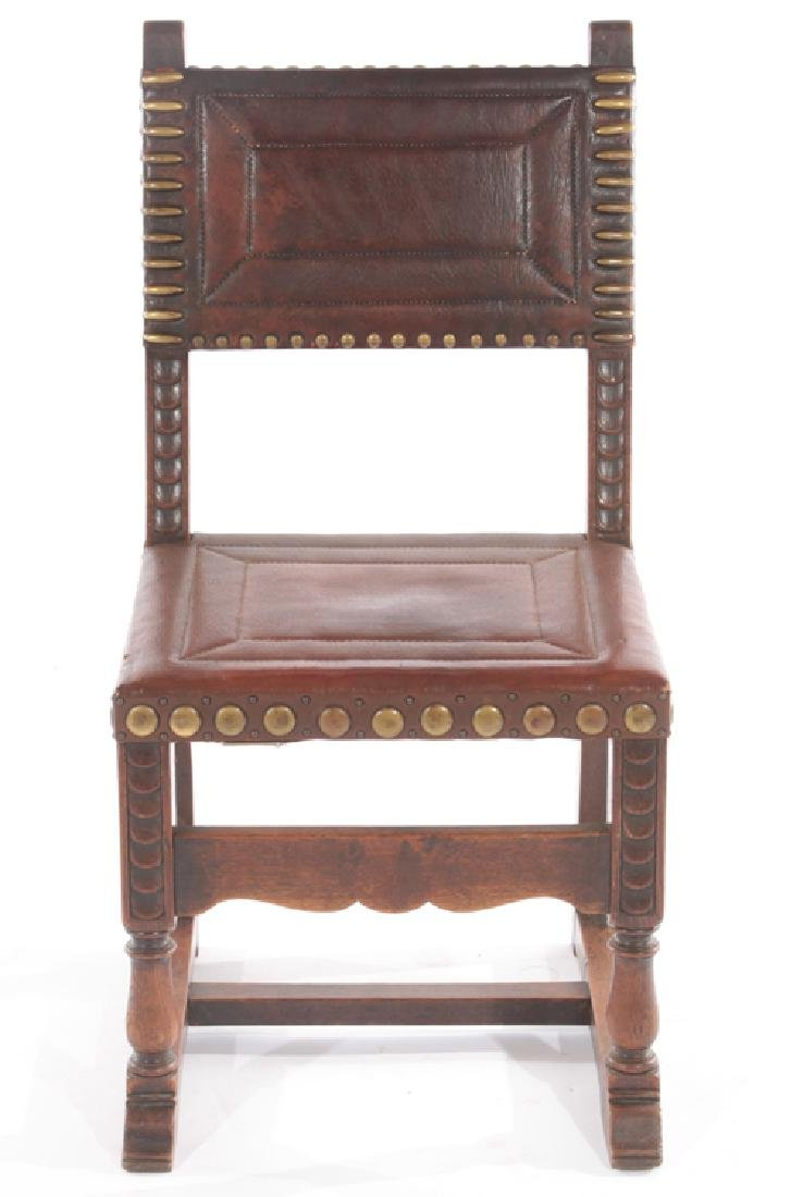 SET 6 FRENCH 17TH CENT. STYLE LEATHER DINING CHAIRS - 3