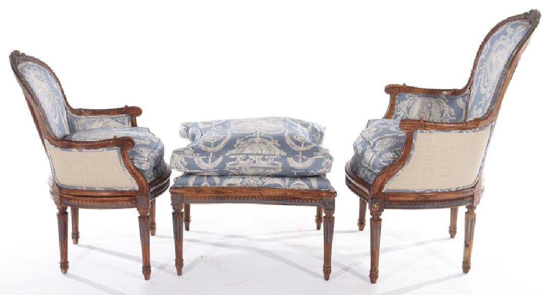 19TH CENT. FRENCH LOUIS XVI 3 PART CHAISE LOUNGE - 3