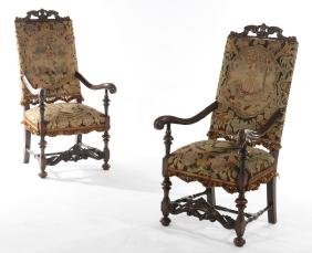 PAIR CONTINENTAL NEEDLEPOINT OPEN ARM CHAIRS 1920