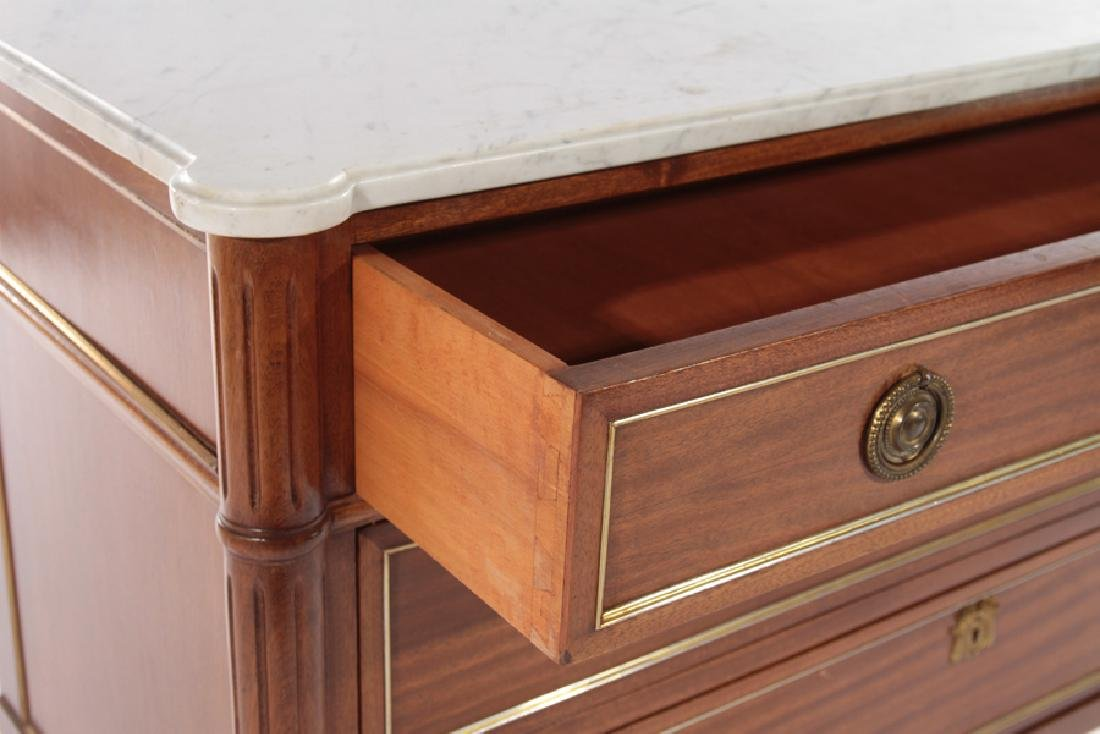 FRENCH DIRECTOIRE STYLE COMMODE MARBLE TOP 1940 - 4