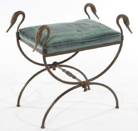 REGENCY STYLE BRONZE IRON BENCH UPHOLSTERED