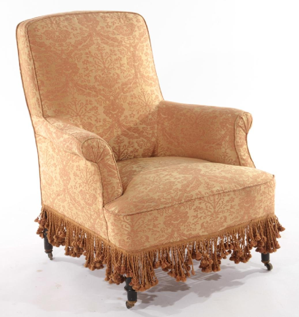 PAIR FRENCH NAPOLEAN III UPHOLSTERED CLUB CHAIRS - 2