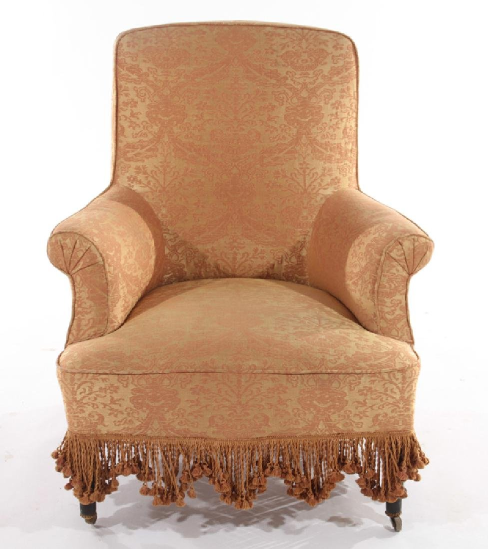 PAIR FRENCH NAPOLEAN III UPHOLSTERED CLUB CHAIRS - 3