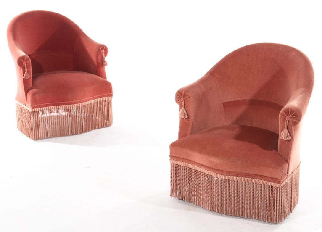 PAIR FRENCH NAPOLEON III UPHOLSTERED CHAIRS