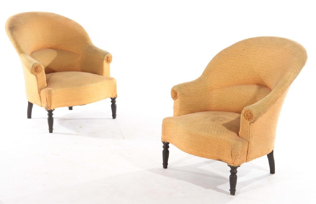 PAIR FRENCH NAPOLEAN III STYLE CLUB CHAIRS C.1940