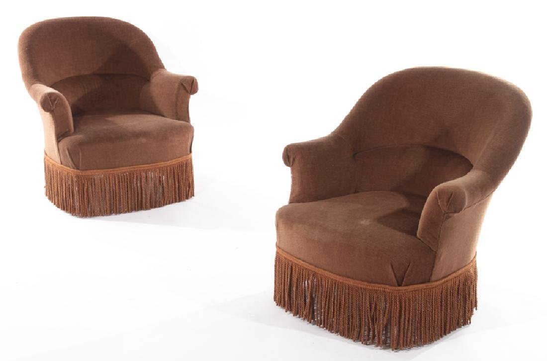 PAIR FRENCH NAPOLEAN III UPHOLSTERED CLUB CHAIRS