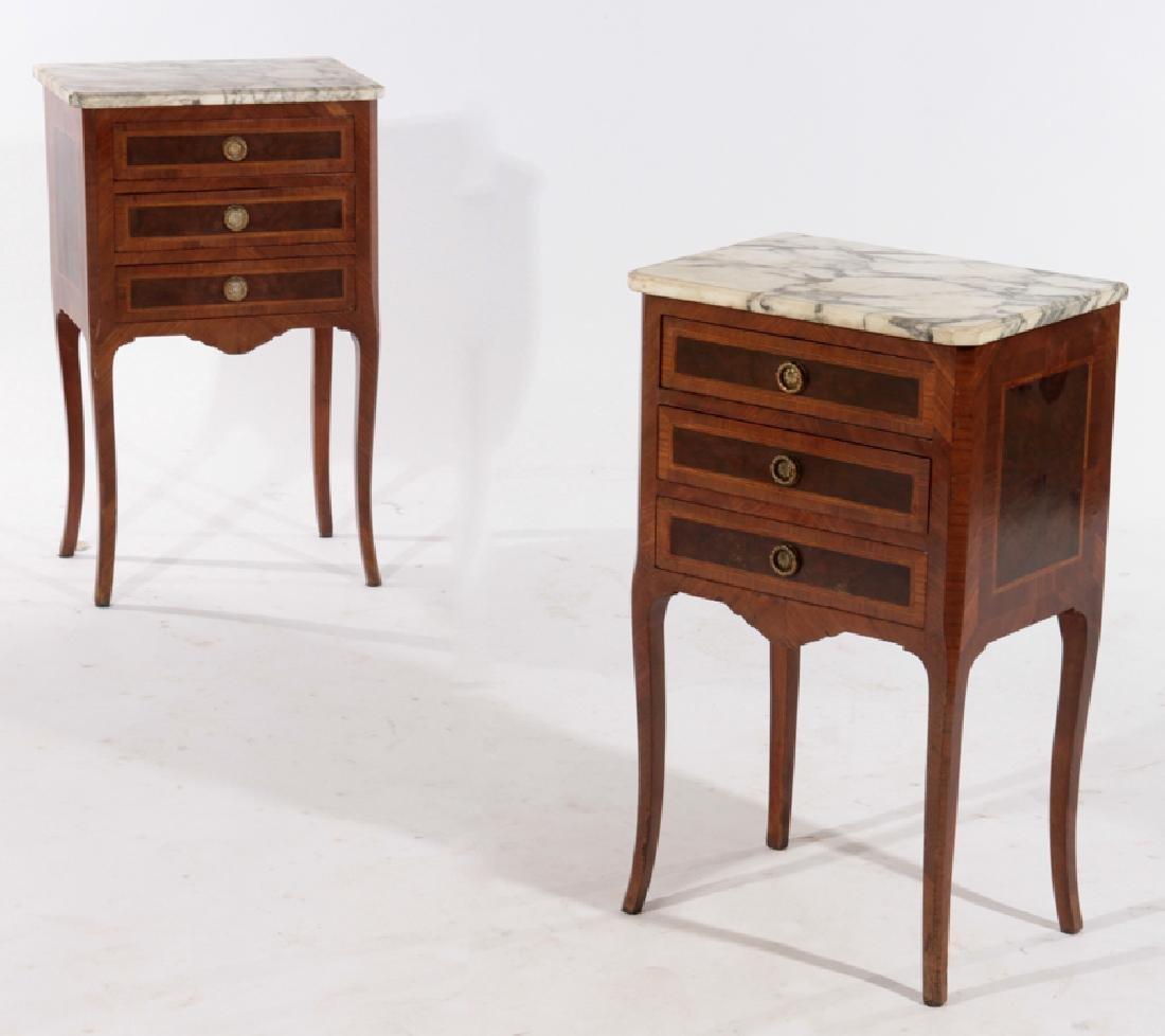 PAIR OF LOUIS XV STYLE END TABLES MARBLE TOP 1930