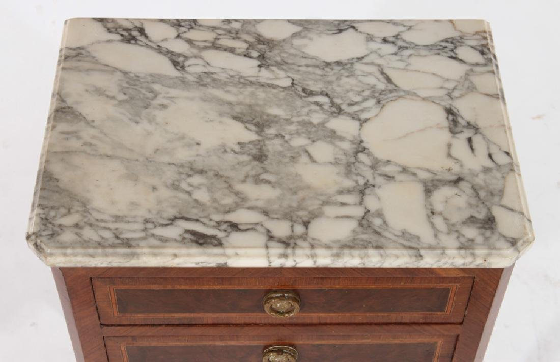 PAIR OF LOUIS XV STYLE END TABLES MARBLE TOP 1930 - 4