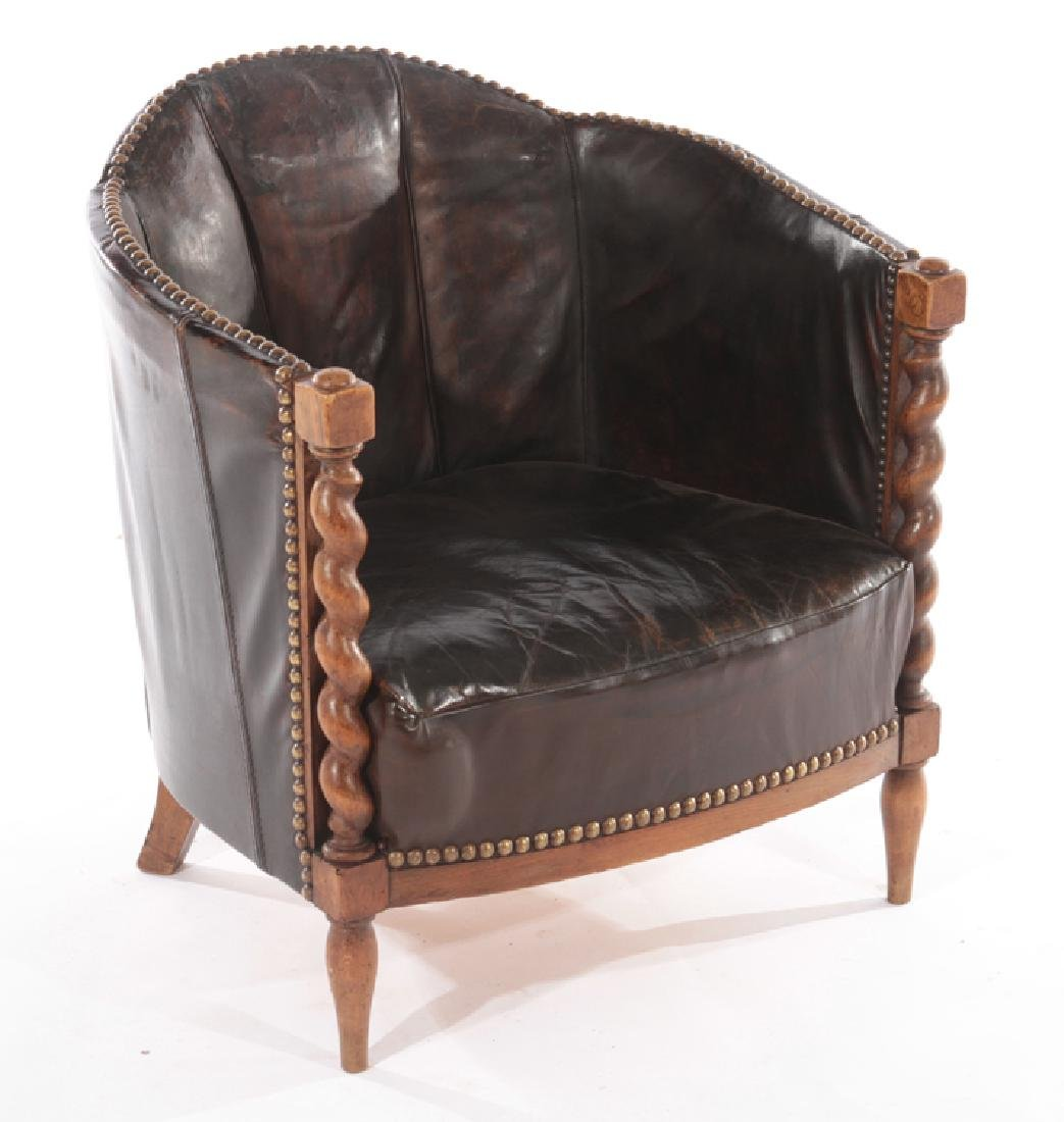RENCH LEATHER UPHOLSTERED CLUB CHAIR 1940