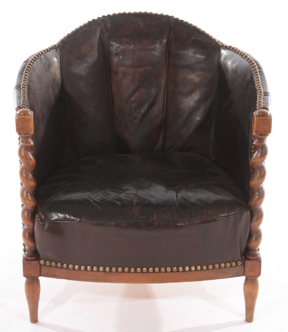 RENCH LEATHER UPHOLSTERED CLUB CHAIR 1940 - 2