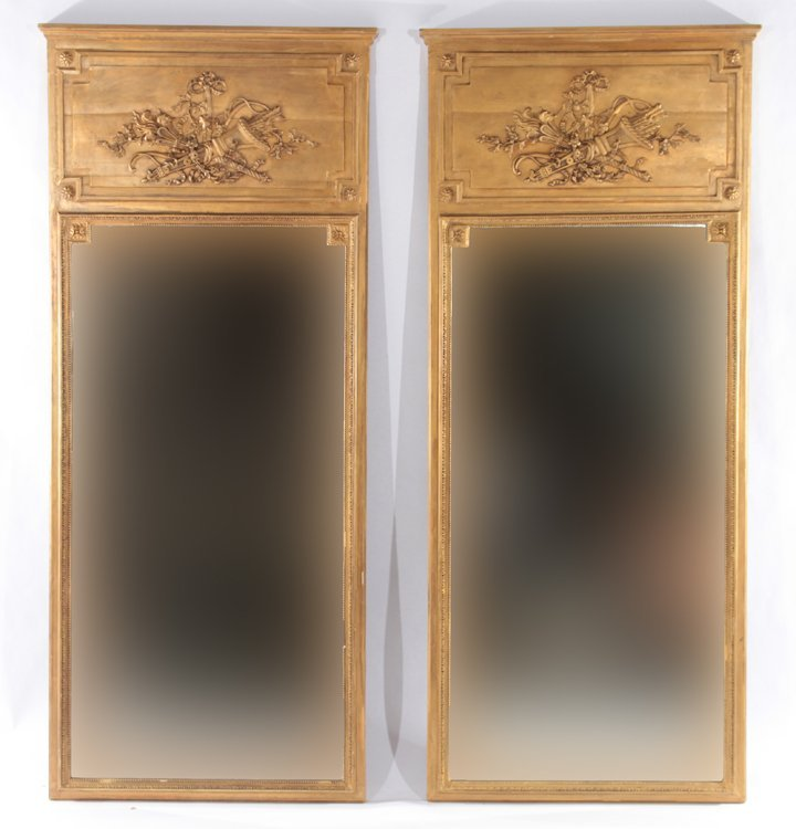 PAIR GOLD PAINTED TRUMEAU MIRRORS 1920