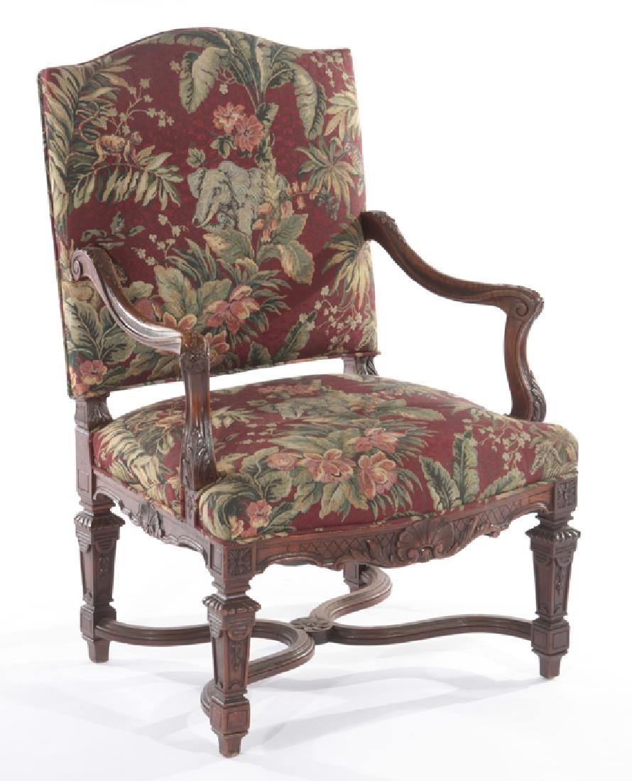 FRENCH ARM CHAIR CURVED CARVED ARMS 1910