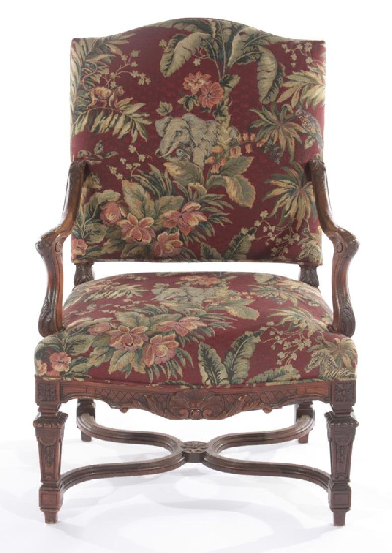 FRENCH ARM CHAIR CURVED CARVED ARMS 1910 - 2