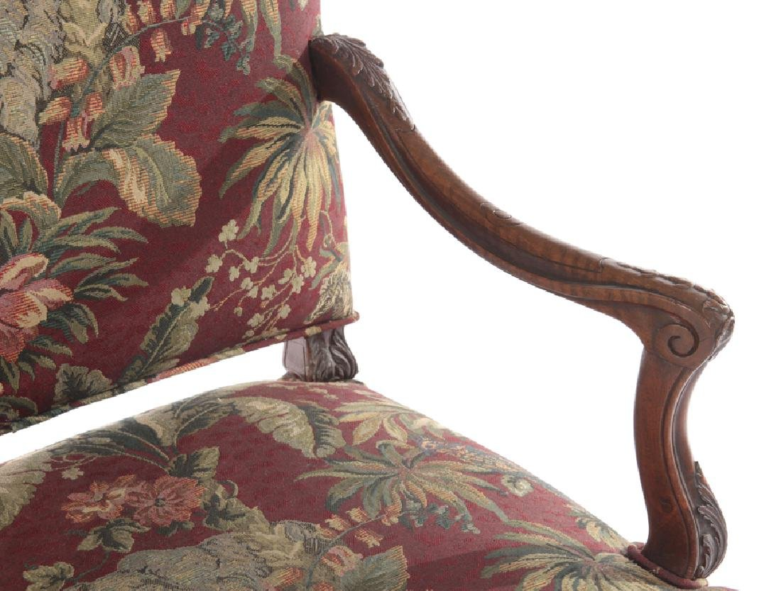 FRENCH ARM CHAIR CURVED CARVED ARMS 1910 - 3