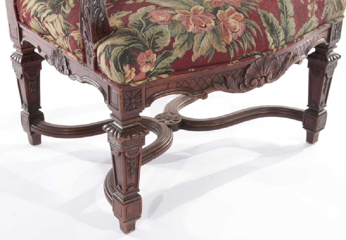 FRENCH ARM CHAIR CURVED CARVED ARMS 1910 - 4