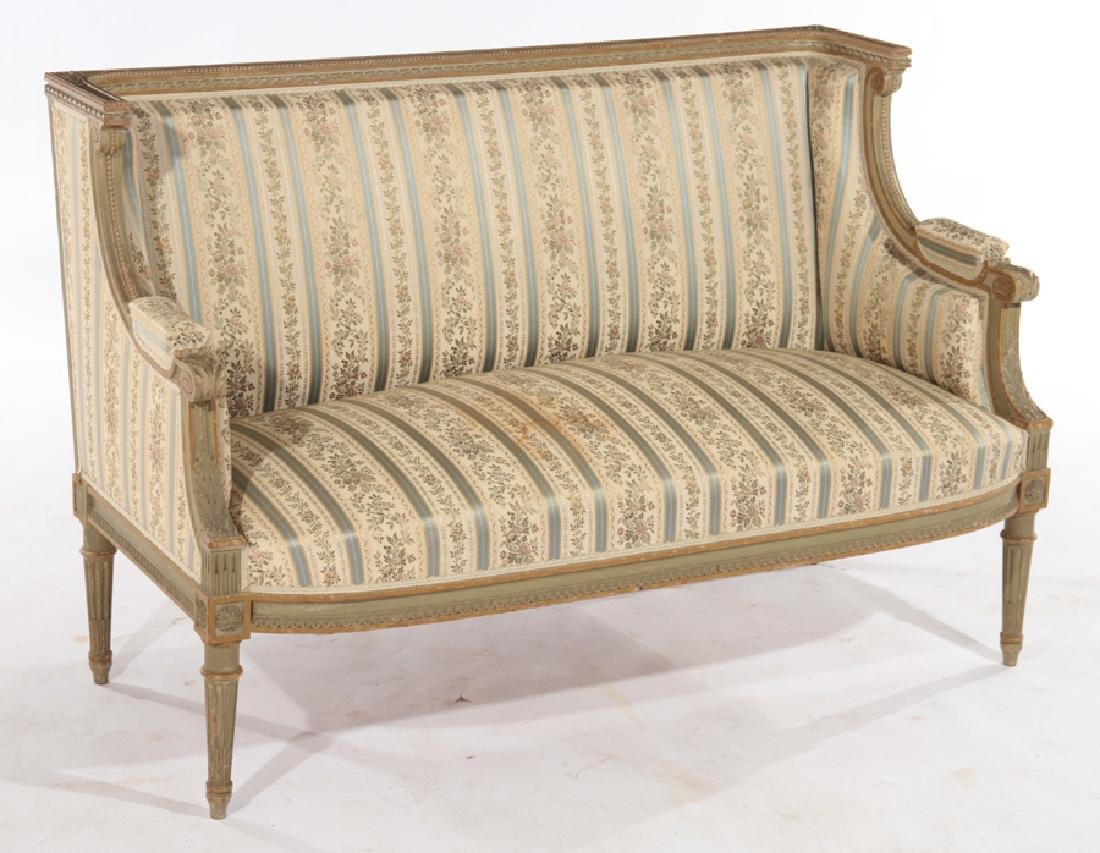 FRENCH LOUIS XVI STYLE CARVED SETTEE C.1940