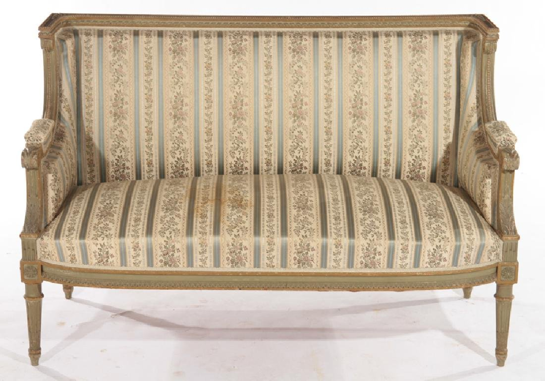 FRENCH LOUIS XVI STYLE CARVED SETTEE C.1940 - 2