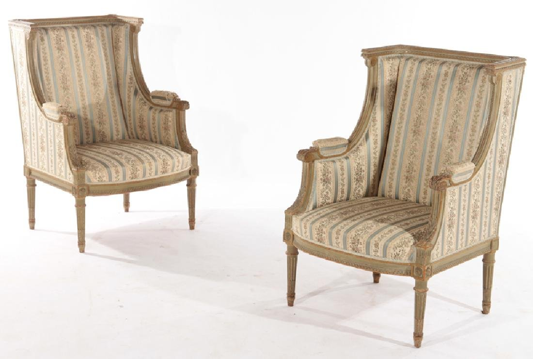 PAIR FRENCH LOUIS XVI STYLE CARVED BERGERES 1940